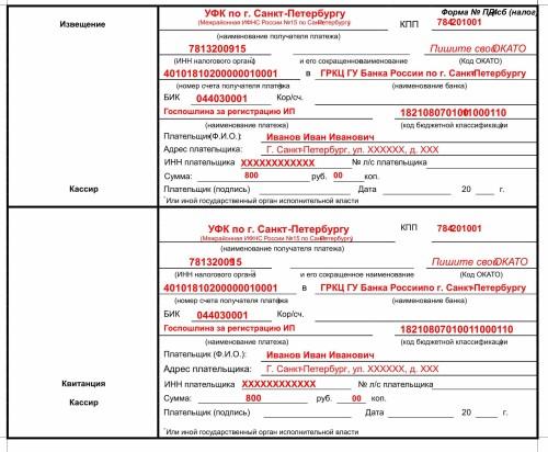 Пошлина за регистрацию ип в спб штраф за несвоевременную подачу декларации по 3 ндфл
