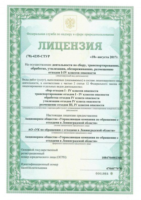 Лицензия на осуществление деятельности по переработке мусора
